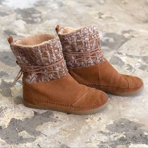 Toms Brown Woven Style Short Boots